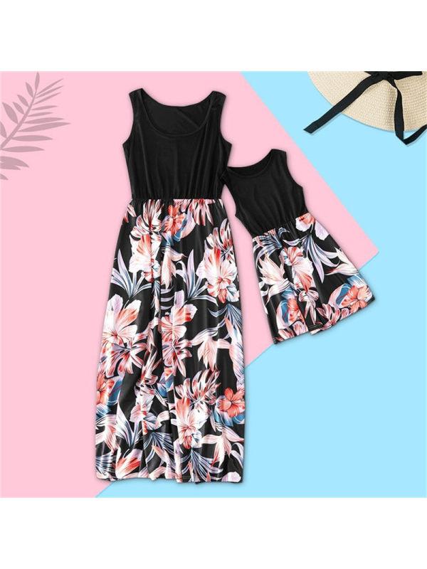 Round Neck Sleeveless Print Stitching Mom Girl Matching Dress