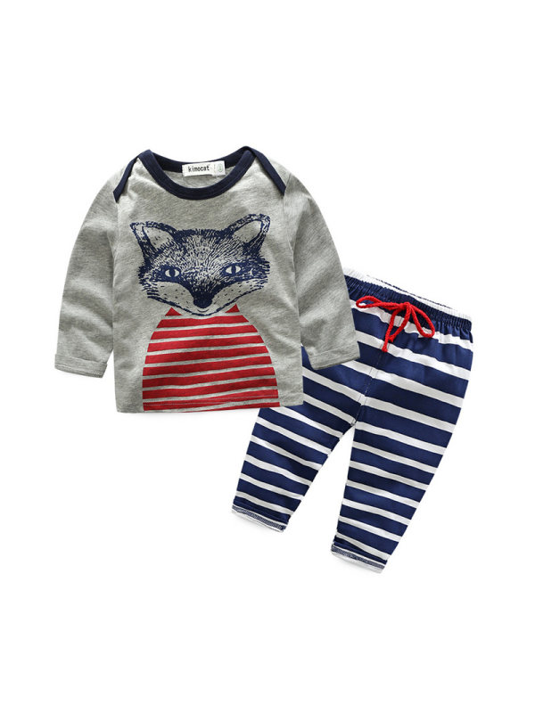 【6M-2.5Y】Children's Spring And Autumn Long-sleeved Cartoon Casual Suit