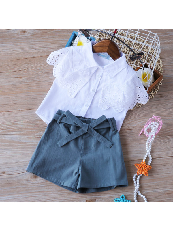 【18M-7Y】Girls Short-Sleeved Shirt and Shorts Two-Piece Suit