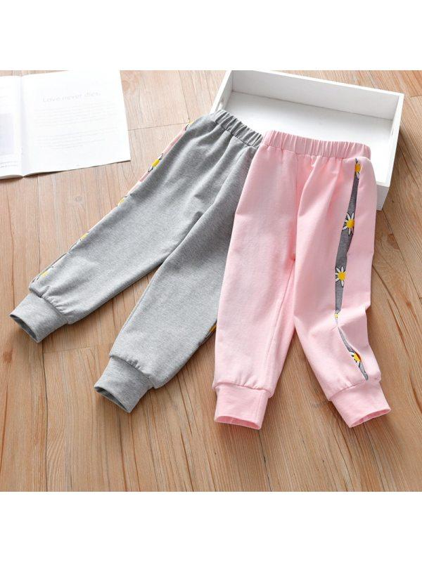 【18M-7Y】Girls Contrast Stitching Fashion Track Pants