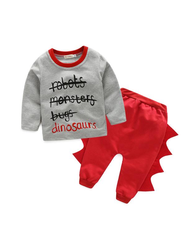 【6M-3Y】Children's Letter Shirt Dinosaur Slacks Suit