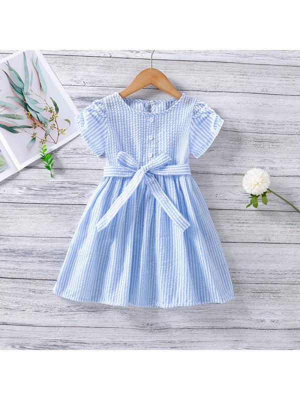 【18M-7Y】Girls Pinstripe Navy Style Tie Waist Dress