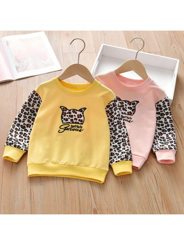 【18M-7Y】Girls Contrast Stitching Leopard Print Sweatshirt