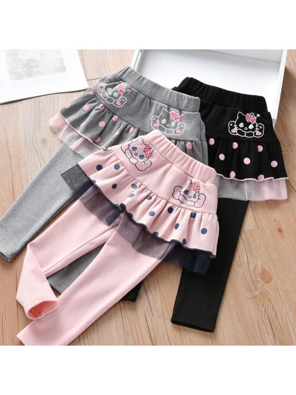 【18M-7Y】Girl Polka Dot Cartoon Color Matching Lace Slim Skirt Pants