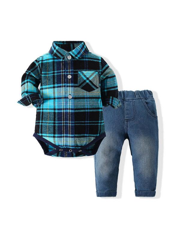 【6M-3Y】Boys Plaid Romper Jeans Suit