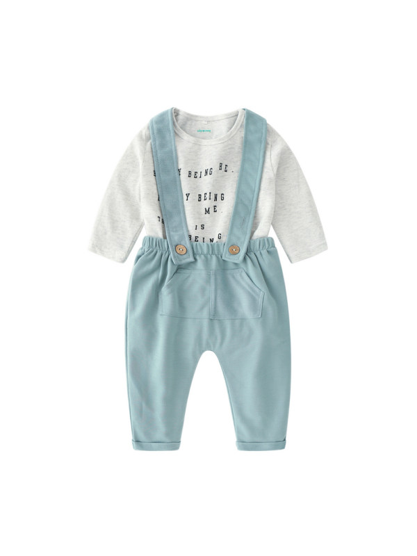 【6M-3Y】Baby Long Sleeve Letter Romper Overalls Set