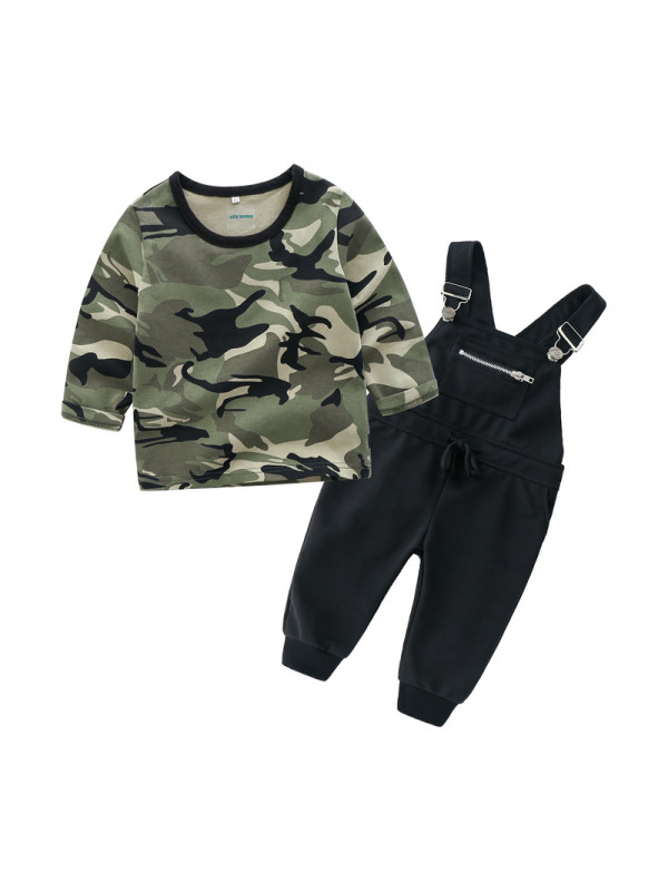 【12M-5Y】Boys Suspenders and Trousers Camouflage T-shirt Casual Suit