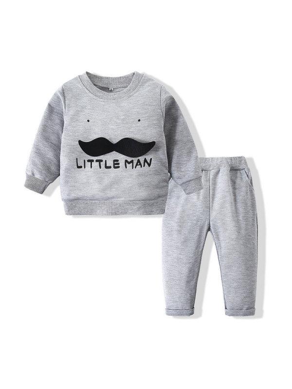 【6M-3Y】Boys Beard Three-Dimensional Sweatshirt Casual Pants Suit