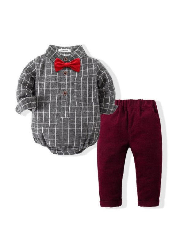 【6M-3Y】Checked Bow Tie Gentleman Romper and Pants Set