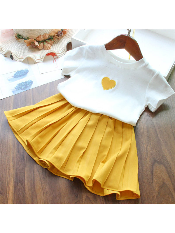 【18M-7Y】Girls Love Embroidered Blouse And Skirt Two-piece Suit