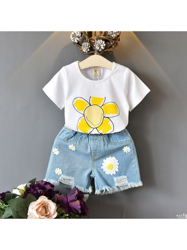 【18M-7Y】Girls' Printed Short-sleeved Top And Shorts Two-piece Suit