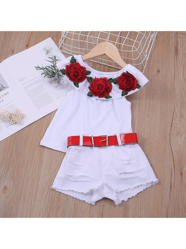 【18M-7Y】Girl Round Neck Flower Two-Piece Suit