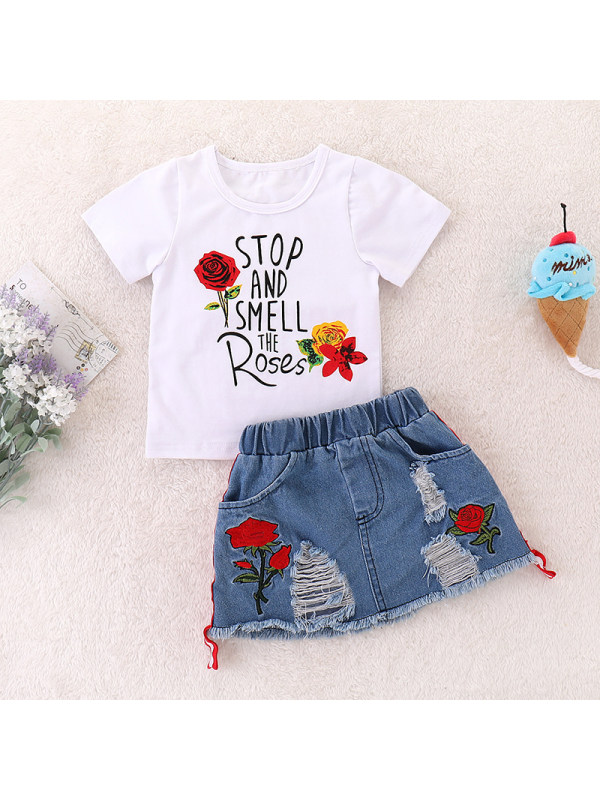【18M-7Y】Girls Letter Print Short-Sleeved Top and Shorts Two-Piece Suit