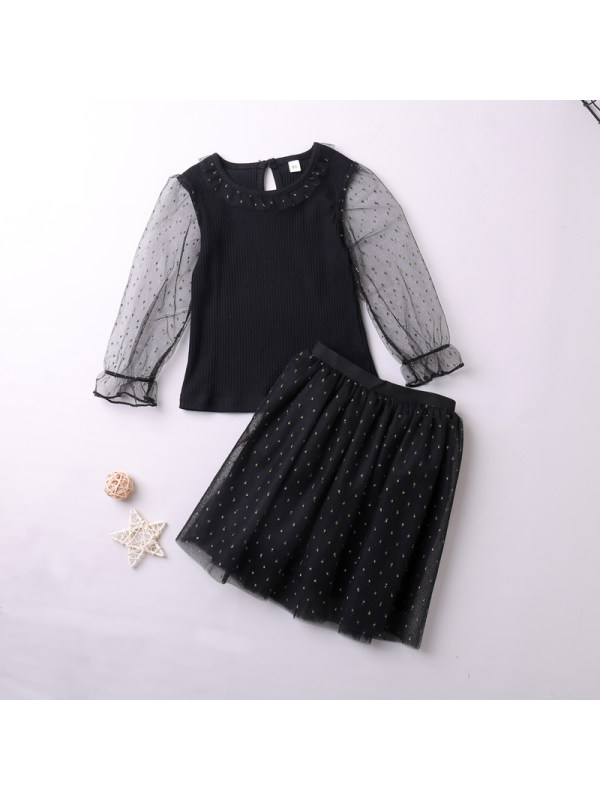 【18M-7Y】Girls' Long-sleeved Top And Short Skirt Two-piece Suit