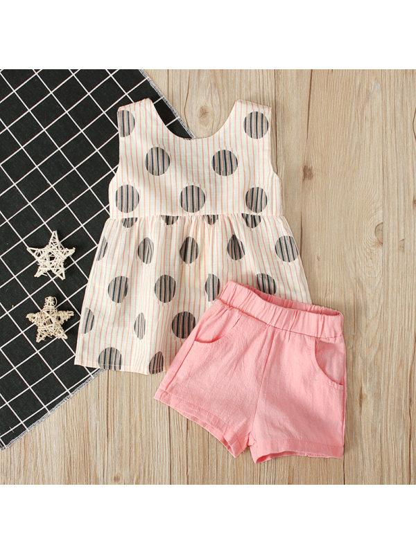 【18M-7Y】Girls Polka Dot Top Plain Shorts Trend Two-Piece Set