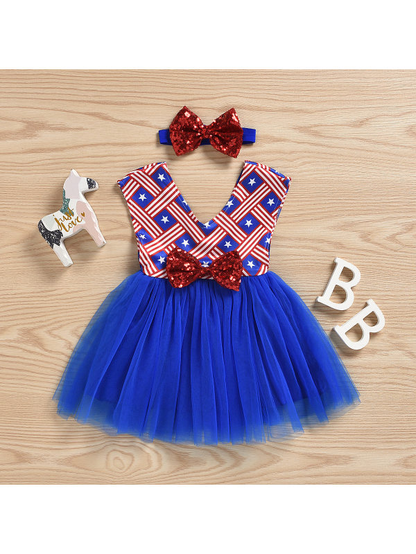 【6M-3Y】Baby Girl Independence Day Sleeveless Vest Mesh Dress