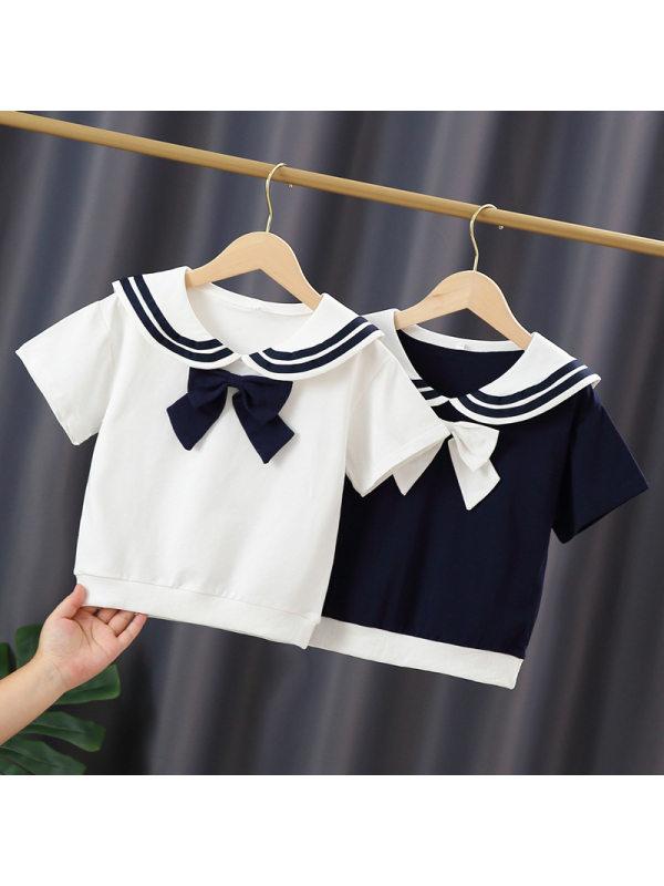 【3Y-11Y】Big Girls Navy Short Sleeve T-shirt with Lapel Collar