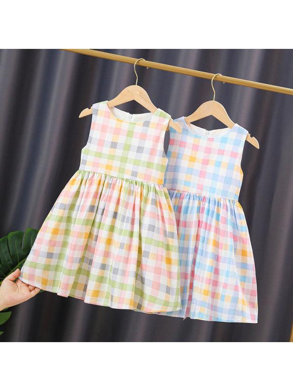 【2Y-9Y】Girls' Sleeveless Plaid Dress