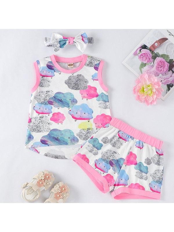 【6M-24M】Baby Girl Sweet Cloud Vest Shorts Set