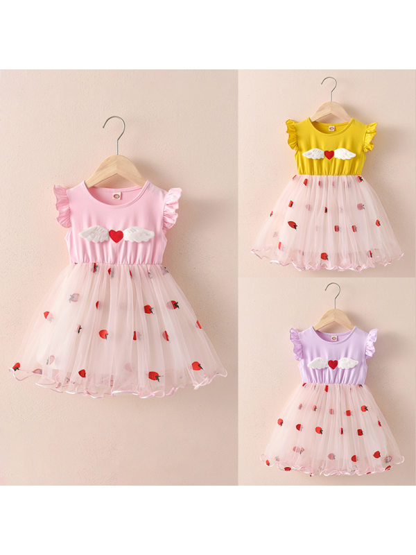 【18M-7Y】Girls Sweet Embroidered Mesh Dress