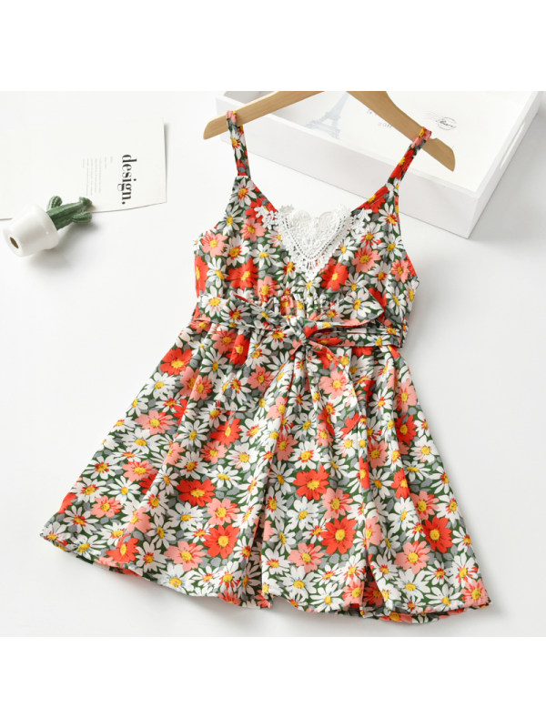 【18M-7Y】Girls Sweet Floral Sling Dress