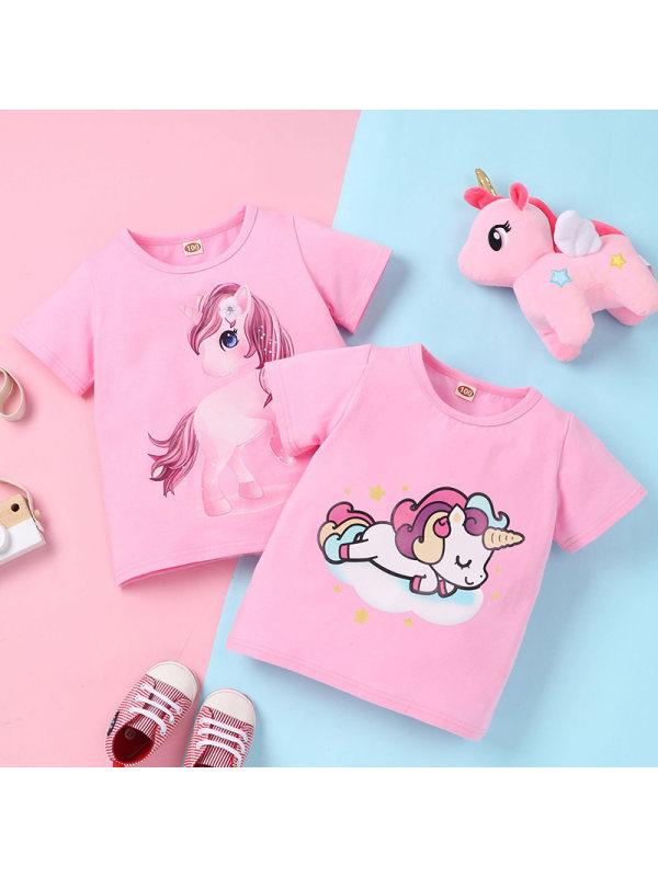 【12M-5Y】Girl Sweet Unicorn Pattern Short-sleeved T-shirt