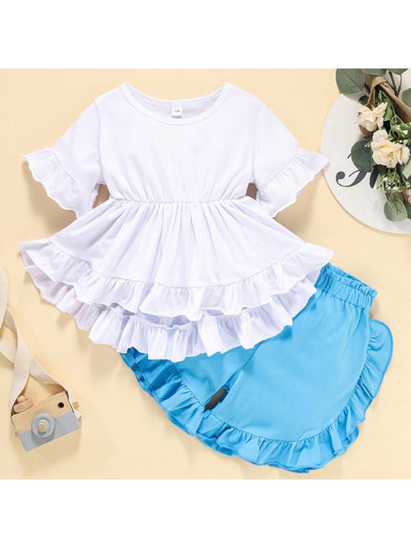 【3Y-9Y】Girl Sweet White T-shirt Blue Shorts Shorts Set