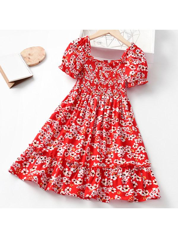【3Y-11Y】Girls Sweet Red Floral Short Sleeve Dress