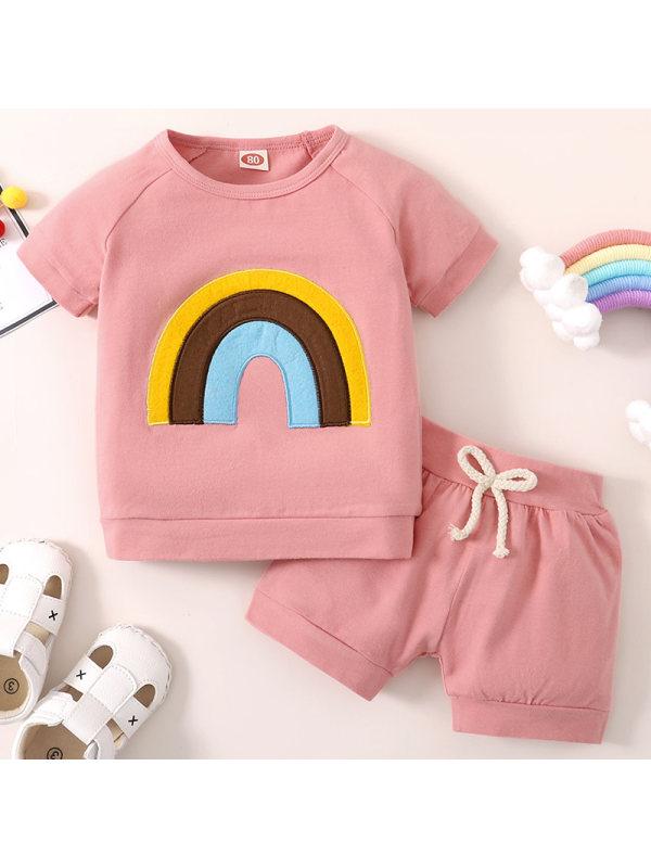 【12M-5Y】Girls Sweet Rainbow Embroidered Short Sleeve T-shirt Shorts Set