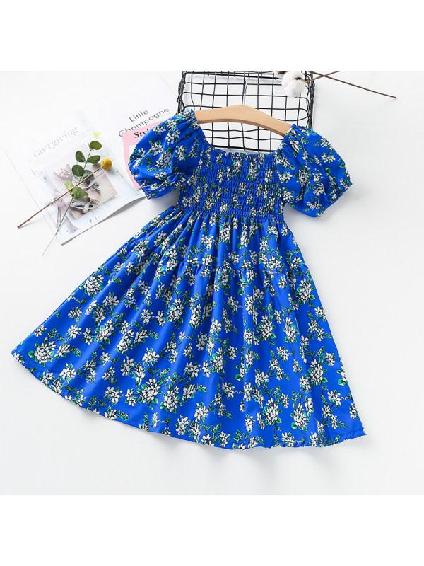 【3Y-13Y】Girls One-shoulder Puff Sleeve Floral Dress