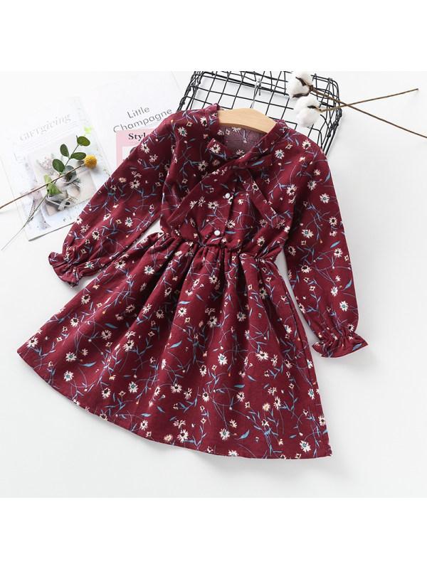 【3Y-13Y】Girls Flower Print Long Sleeve Bowknot Dress