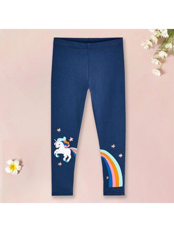 【18M-9Y】Sweet Cartoon Unicorn and Rainbow Embroidery Blue Leggings