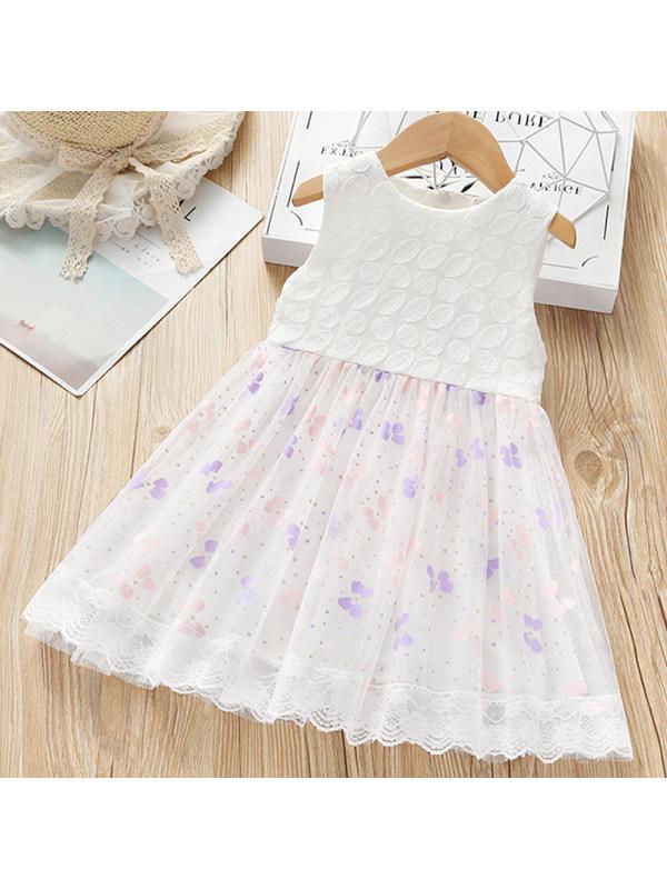 【18M-5Y】Girls Sweet Lace Mesh Sleeveless Dress