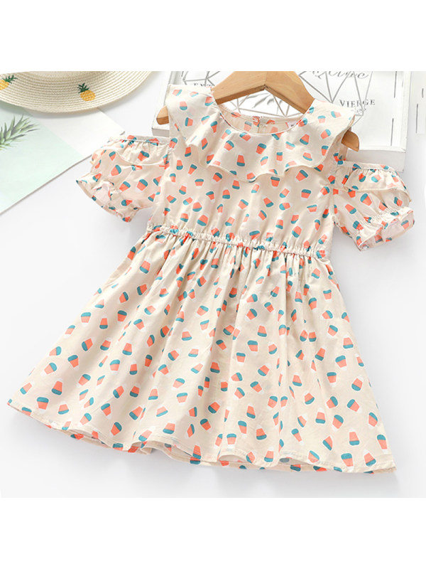 【2Y-9Y】Girls Sweet Geometric Pattern Short Sleeve Dress