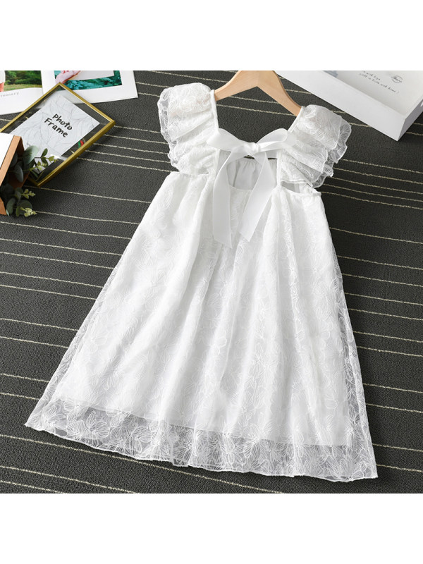 【3Y-11Y】Girl Sweet White Lace Backless Dress