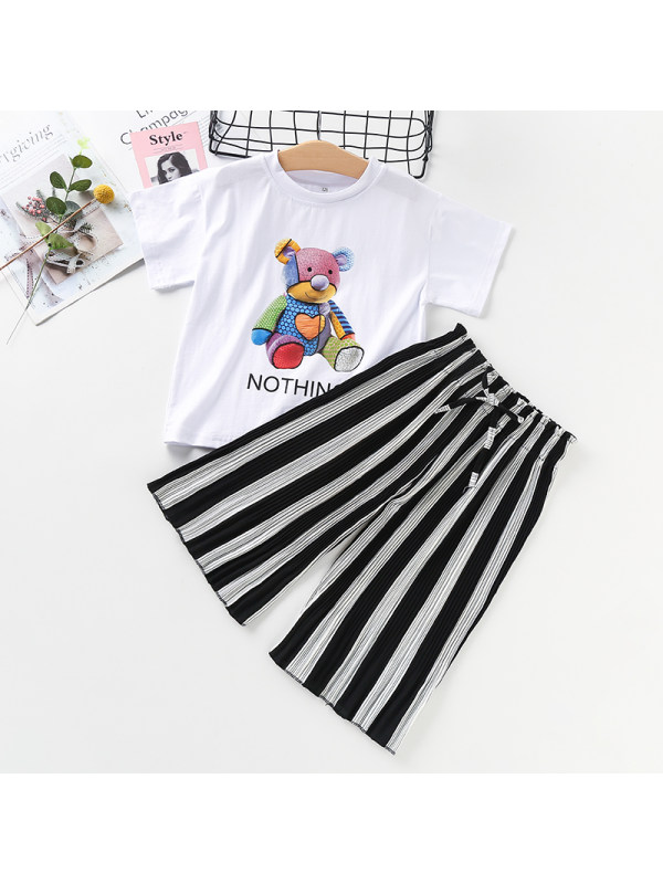【3Y-13Y】Girls Round Neck Short Sleeve Cartoon Print Top and Striped Wide Leg Pants Set