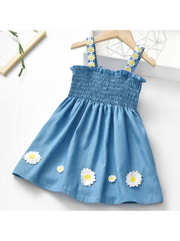 【18M-7Y】Girls Sweet Denim Sling Dress