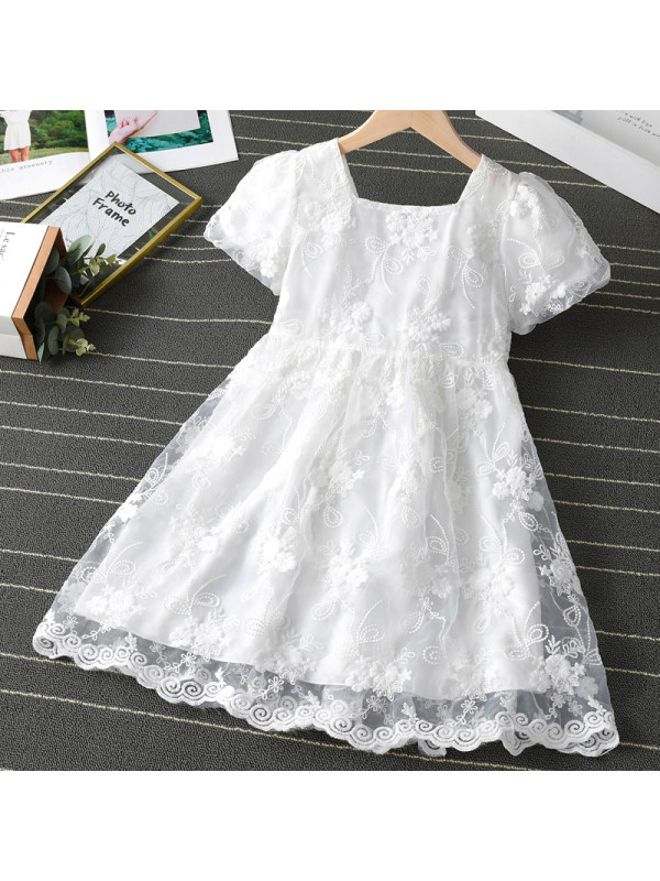 【3Y-11Y】Girl Sweet White Lace Short Sleeve Dress