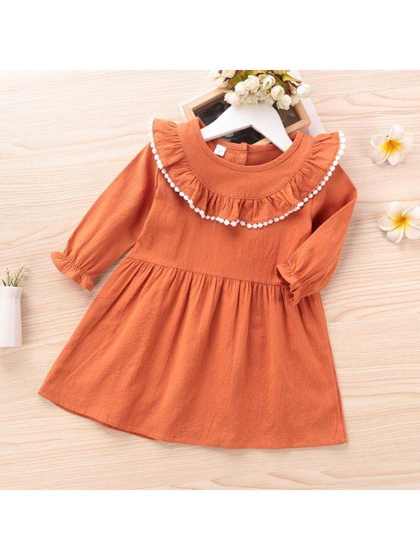 【6M-3Y】Baby Round Neck Long-sleeved Dress