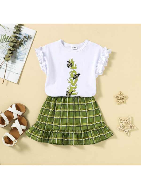 【18M-6Y】Girls Sleeveless Top and Green Plaid Skirt Two-piece Suit