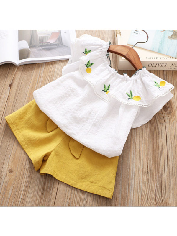 【2Y-9Y】Girls Pineapple Embroidered Top Solid Color Shorts Suit