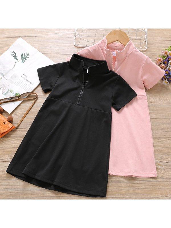 【18M-7Y】Girl Sweet Solid Color Short Sleeve Dress