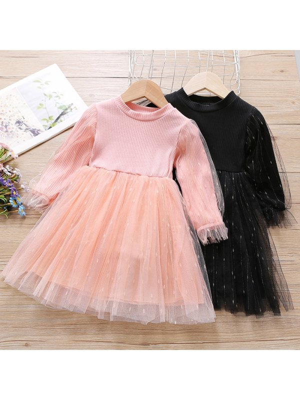 【18M-7Y】Girls Sweet Mesh Long Sleeve Dress
