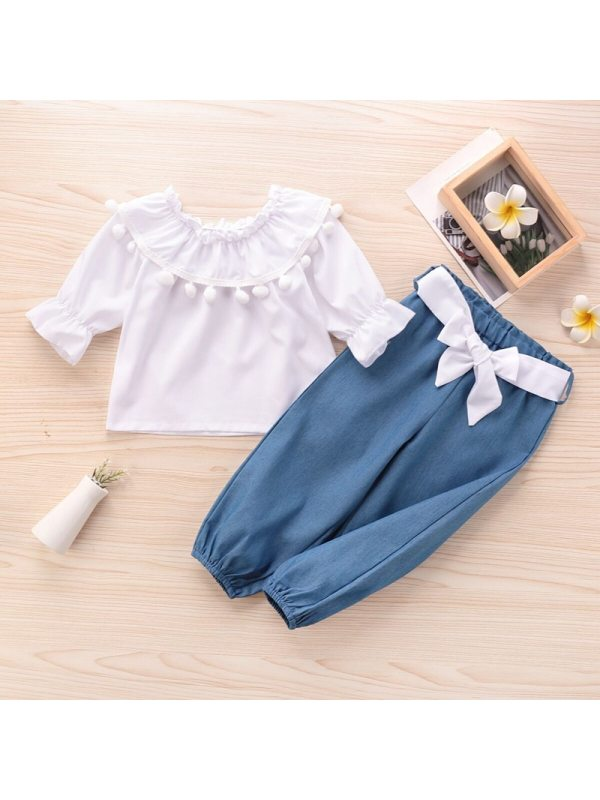 【18M-7Y】Girls Long-sleeved Ruffled Fringed Top with Bow Trousers Suit