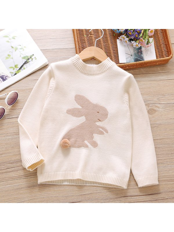【18M-7Y】Girl Sweet Rabbit Pattern Round Neck Sweatshirt