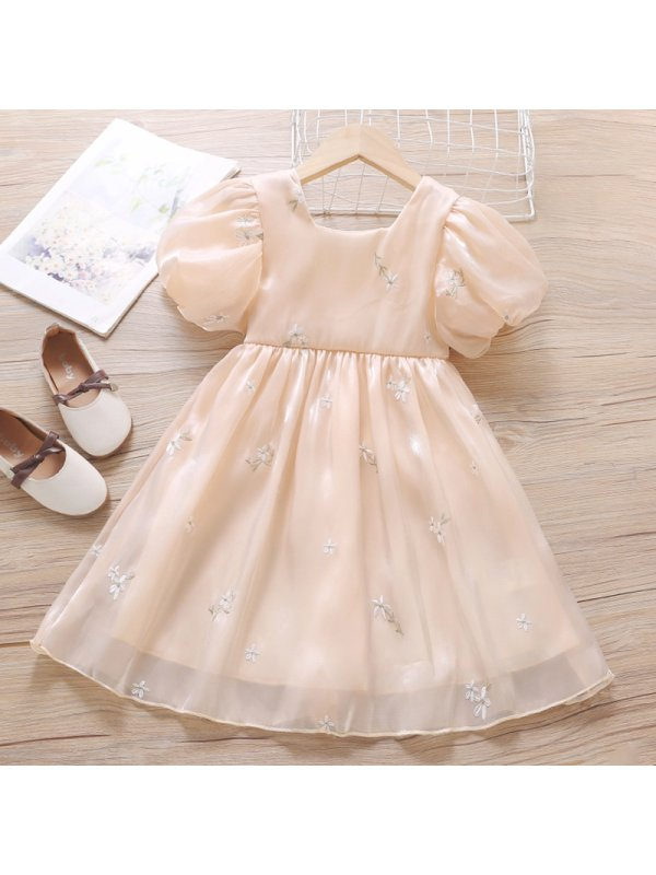 【18M-7Y】Girl Sweet Embroidered Short Sleeve Dress