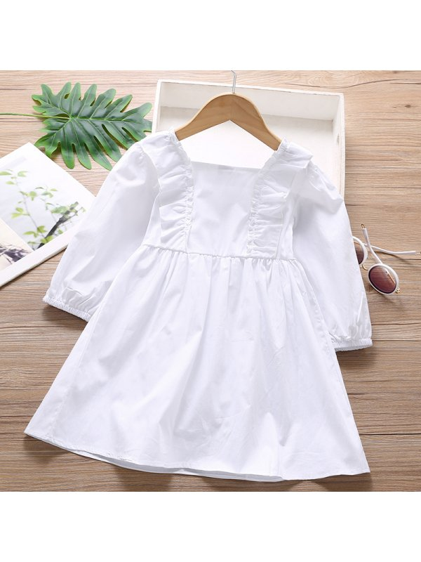 【18M-7Y】Girl Sweet White Long Sleeve Dress