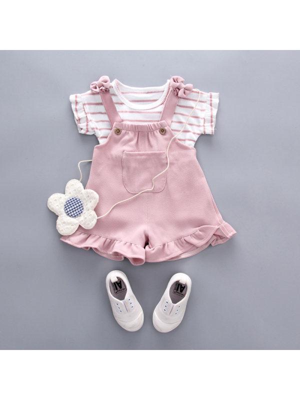 【12M-5Y】Summer Comfortable Leisure Princess Rabbit Strap Culottes Suit