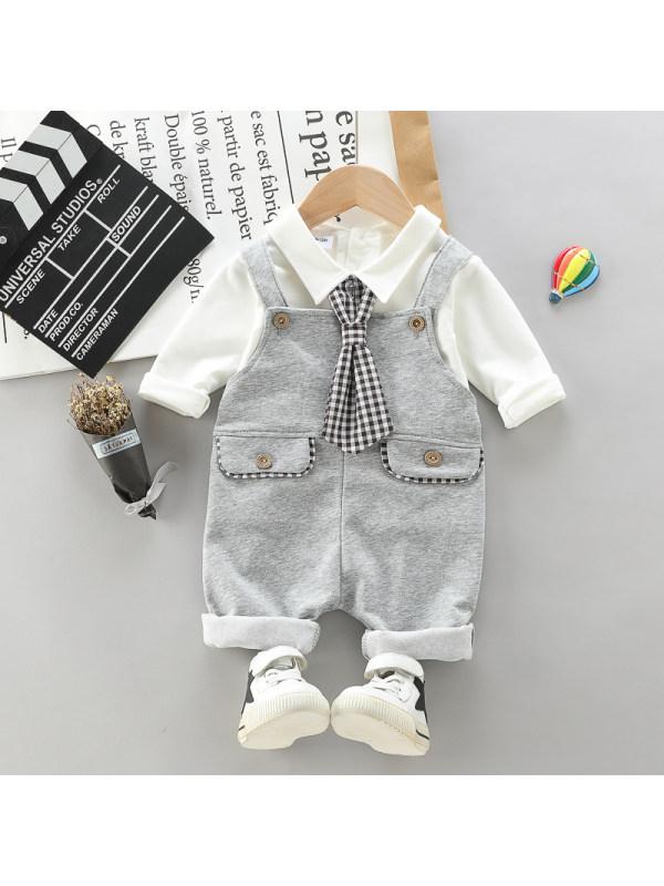 【12M-4Y】Children's Spring And Autumn Gentleman Tie Bib Long Sleeve Suit