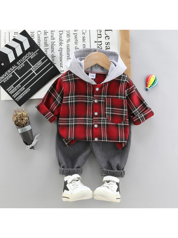 【12M-4Y】Children's Spring And Autumn Plaid Shirt Long-sleeved Suit